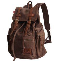 74f3046ba681 Men s Vintage Canvas Leather Hiking Travel Military Backpack Satchel School  bag