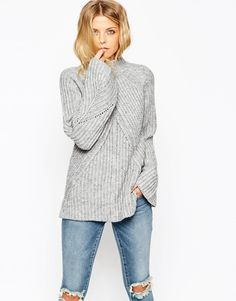 ASOS COLLECTION ASOS Chunky Sweater With High Neck And Moving Rib