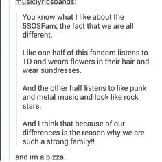 Okay. I want to say something and not get killed for saying so. I understand what this post is saying, but it is not exactly right about one of the two sides. Just because some of us listen to 1D does not mean that we are like that. You can listen to 1D and still listen to other types of music, such as punk, and not be super girly.