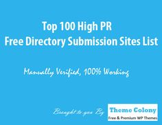 Top 100 High PR Free Directory Submission Sites List