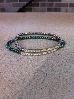 Green Metallic Rhinestone bar crystal by GlitzGlamourandBling, $14.00