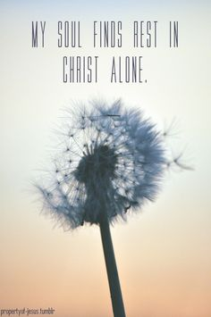 My soul finds rest in Christ alone.