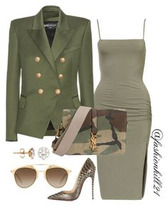 """Untitled #1341"" by fashionkill21 ❤ liked on Polyvore featuring Balmain, Christian Louboutin, Yves Saint Laurent, Christian Dior and Allurez"