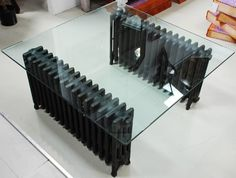 table made from old radiators