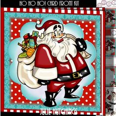 HO HO HO Card Front Kit on Craftsuprint designed by Julie Hutchings - beautiful Card front kit with 4 sheets to print cut and assemble to make a wonderful card that includes the insert,decoupage, cut and fold gift tag and the card front sentiment tags Grandson With LoveSon With LoveHappy ChristmasHusband With Love - Now available for download!
