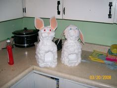 milk jug bunnies for easter  Made these when my kids were little. Milk jug Styrofoam ball Cotton balls Elmer's glue Construction paper for ears Pipe cleaner whiskers