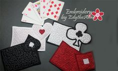 4 PIECE CARD GAME Set In The Hoop Embroidered Mug Mat/Mug Rugs. Digital File. Available immediately.  No shipping charges by EmbroideryEdytheAnn on Etsy