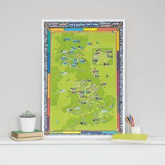 Are you interested in our Football Map Poster? With our Personalised Football Team Print you need look no further. Gifts For Football Fans, Uk Football, Hampden Park, Chelsea Fans, Personalized Football, National Stadium, Wall Maps, Gifts For Him, Bright Colours