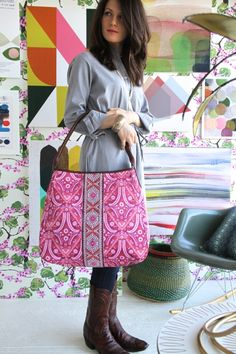New Amy Butler bag. Sewing project idea...ribbon and bright pattern fabric handbag.