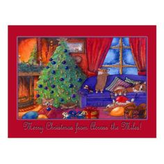 Merry Christmas across the miles Christmas corgis Postcard - Xmas ChristmasEve Christmas Eve Christmas merry xmas family kids gifts holidays Santa
