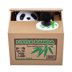 What a cute piggy bank. The panda steals the coin from top of box!
