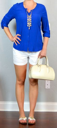 Outfit Posts: outfit post: blue button blouse, white shorts, white buckle sandals