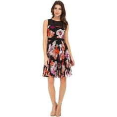 Maggy London Paint Brush Flower Chiffon Fit and Flare (Black/Violet)... (3,555 PHP) ❤ liked on Polyvore featuring dresses, navy, navy blue floral dress, fit and flare dress, floral fit and flare dress, floral fit-and-flare dresses and sleeveless dress