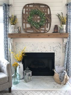 farmhouse fireplace with shiplap, herringbone tile, decor, tobacco basket, belly basket