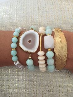 Aqua Stack Beaded Bracelets Choose individually or by ShopSprouts