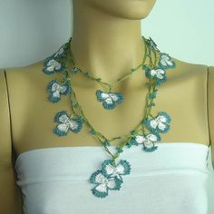 Crochet oya lace teal blue white necklace Beaded by istanbuloya