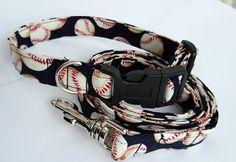 Baseball dog collar with matching leash  by InspiredByMocha