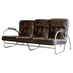 Tubular Chrome & Leather Sofa by Royal Metal Co, c1930s