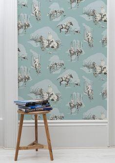 Graduate Collection Saddle Up Wallpaper - Duck Egg - Lime Lace £125 #wallpaper #interior #equestrian #designerwallpaper