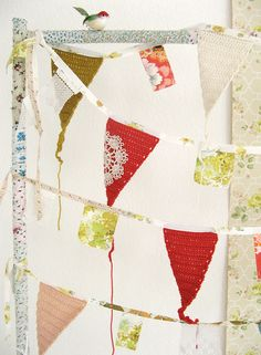 I love bunting, and especially in this color combination of apple, celery and olive.