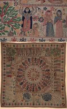 Antique Kantha Embroidery Textile.   1800-1900 A.D