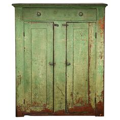 19THC ORIGINAL GREEN PAINTED JELLY CUPBOARD