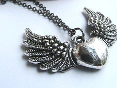 Angle Wing Heart Silver Necklace  Winged Heart by hookandline