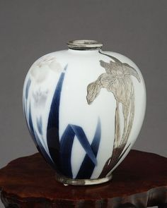 "Japanese studio porcelain vase of painted and applied silver iris, c. 1900 7 1/4"" high"
