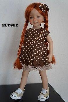 robe tenue pour  poupée Little Darling Dianna Effner  pois marron et or