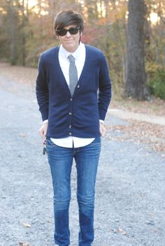Cardigans are the relaxed, smooth, cozy young sibling to the jacket :) And also look great with ties!