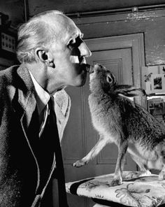 Carl Mydans - Horace the Housebroken Hare 1956 pulling tenaciously on carrot mr webb is holding tightly in his teeth, horace tugs until he jerks tidbit free. Judging by the mood of Mydans' photographs, Horace and his people — the Webbs of Dublin, Ireland — appear to have come to an amicable agreement about how to get along under the same roof. In fact, it's evident that the hare holds sway in the household, and the humans are there, for the most part, simply to do Horace's bidding.