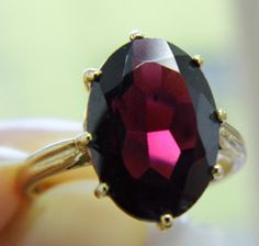 Antique style 14k yellow gold garnet ring gr9120. by KaiJewelry585, $399.00