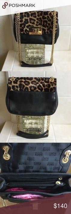 "Rare Michael Kors Sloan Leopard Crossbody Bag In excellent pre-owned condition! Inside is pristine. Genuine calf hair flap. Slight tarnishing on little turn lock. Measures 7.5""x5"". Michael Kors Bags"