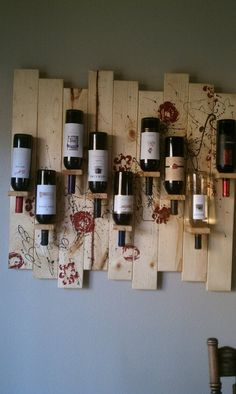 Homemade wine rack...make with Hickory to match my cabinets.                                                                                                                                                     More