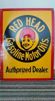 Porcelain Red Head Gas / Oil Sign