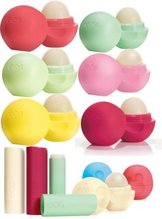 EOS Lip Balm- love these! And if you notice the EOS at the bottom right have Mickey Mouse shapes for the grip! Baby Lips, Love Makeup, Beauty Makeup, Hair Makeup, Lip Gloss, Eos Chapstick, Eos Lip Balm, Lip Balms, Eos Products