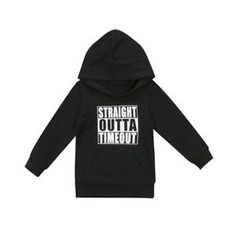 FaMommiesBB Toddler Newborn Baby Boys Girls Straight Outta Timeout Hooded Sweatshirt Top with Kangaroo muff Pockets Hoodie Sweatshirts, Boys Hoodies, Baby Boy Outfits, Kids Outfits, Black And White Hoodies, Black White, Boys Sweaters, Toddler Fashion, Fashion Kids
