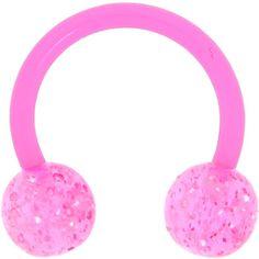 BIOPLAST Pink GLITTER Circular Horse Shoe | Body Candy Body Jewelry
