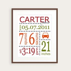 Birth Stats Wall Art, Personalized Boy's Nursery Print, Car, You Choose Colors & Birth Statistics, Birth Details, Nursery Decor, Baby Gift on Etsy, $20.00