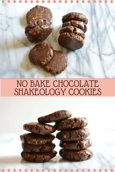 No bake chocolate Shakeology cookies - a perfect healthier treat with ingredients you most likely have already! (Shakeology No Bake Cookies) 21 Day Fix Desserts, 21 Day Fix Snacks, Shakeology Chocolat, Vegan Chocolate Shakeology, Shakeology Mug Cake, Vanilla Shakeology, Chocolate Protein, Eating Raw Cookie Dough, Beachbody Shakeology