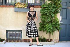 sheer top, midi skirt