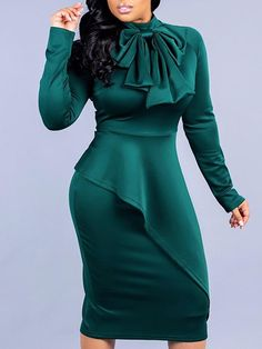 Solid V-Neck Ruffles Twisted Design PU Bodycon Dress - Women Store Cheap Dresses, Sexy Dresses, Fashion Dresses, Stunning Dresses, Beautiful Gowns, Elegant Dresses, Work Dresses For Women, Clothes For Women, Buy Dress