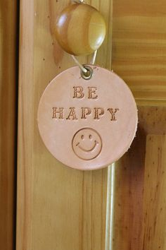 Be Happy Wall Hanging  Smiley Face Leather by TinasLeatherCrafts. Repin To Remember.