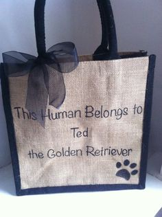 "Personalised gift for animal lovers ""This Human belongs to.... any dog cat pet name"" Pet Toy bag, Shopping, Market, Beach or Grocery Tote by HarlieLoves on Etsy"