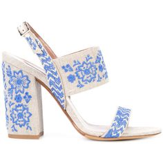 Tabitha Simmons Ivory & Blue Senna Festival Sandal ($845) ❤ liked on Polyvore featuring shoes, sandals, ivory sandals, blue shoes, cotton shoes, blue sandals and embroidered shoes