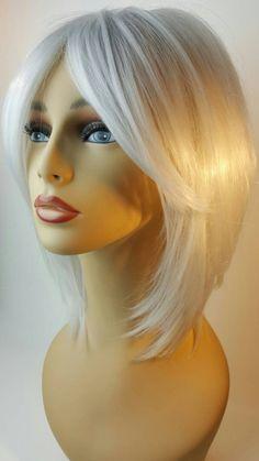 Grey Ombre Hair, Grey Wig, Medium Hair Styles, Short Hair Styles, Sweeping Bangs, Frontal Hairstyles, Bob Hairstyles, Haircuts For Fine Hair, Platinum Blonde Hair
