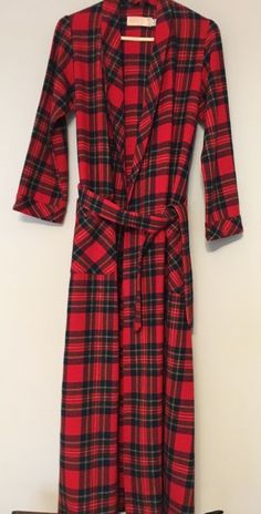 c03d8468b1 Vintage PENDLETON 100% Wool Plaid Belted Robe Small Red Unlined