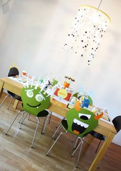 [Boy Bash] Monster Birthday Party Tablescape - eyeball chandelier and monster chairs - Spaceships and Laser Beams