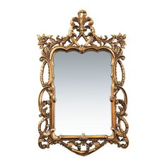 """Floral Scroll Mirror measures 2""""D x 29""""W x 48""""H. The mirror has a beautiful  Gold Leaf finish to complement any type of room. <br><br><ul> <li>Type: Wall Mirror</li> <li>Frame Color: Gold</li> </ul><br>..."""
