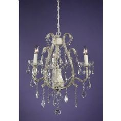 French Style Marie Therese Cream Cracked 3 Arm Chandelier